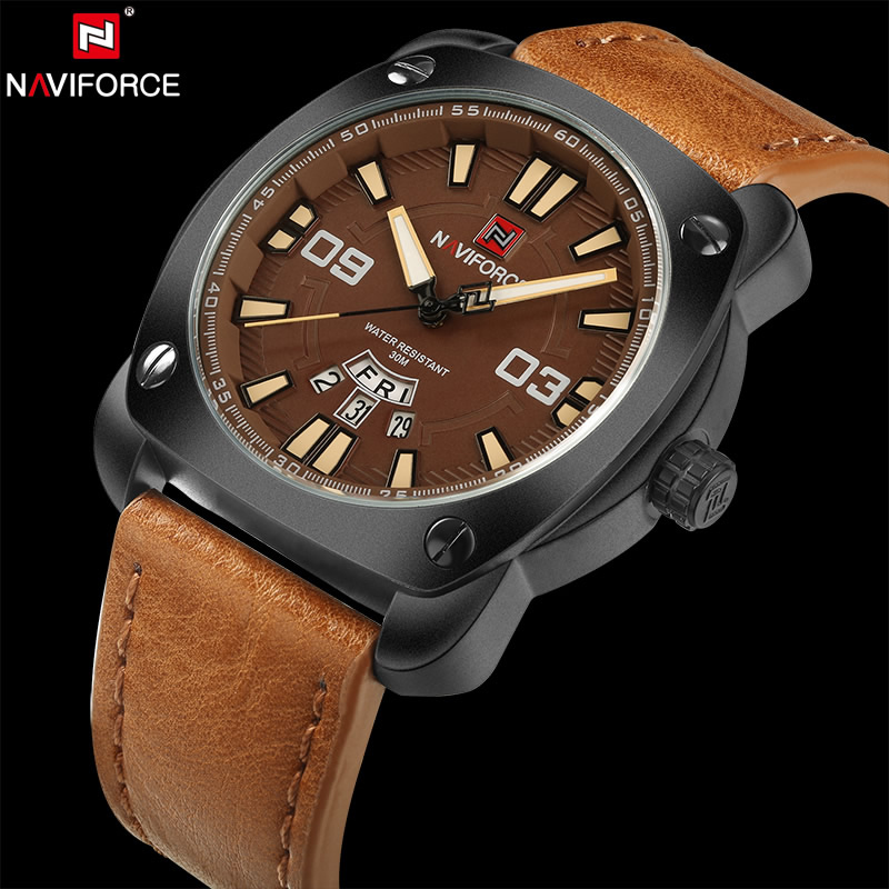 NAVIFORCE Original Luxury Brand Sports Quartz Watch Men Leather Army Military Wristwatch Calendar Clock relogio masculino