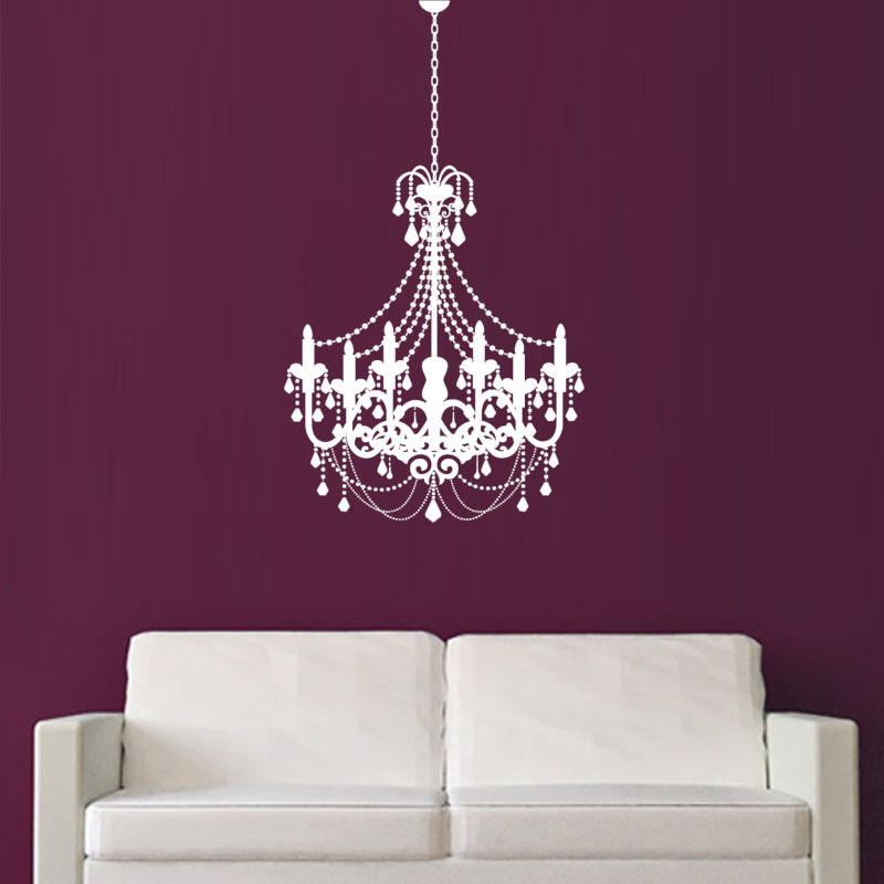 Old Fashioned Candle Chandelier Wall Sticker White Exquisite Pvc Waterproof Home Decor For Living Room In Stickers From Garden On Aliexpress