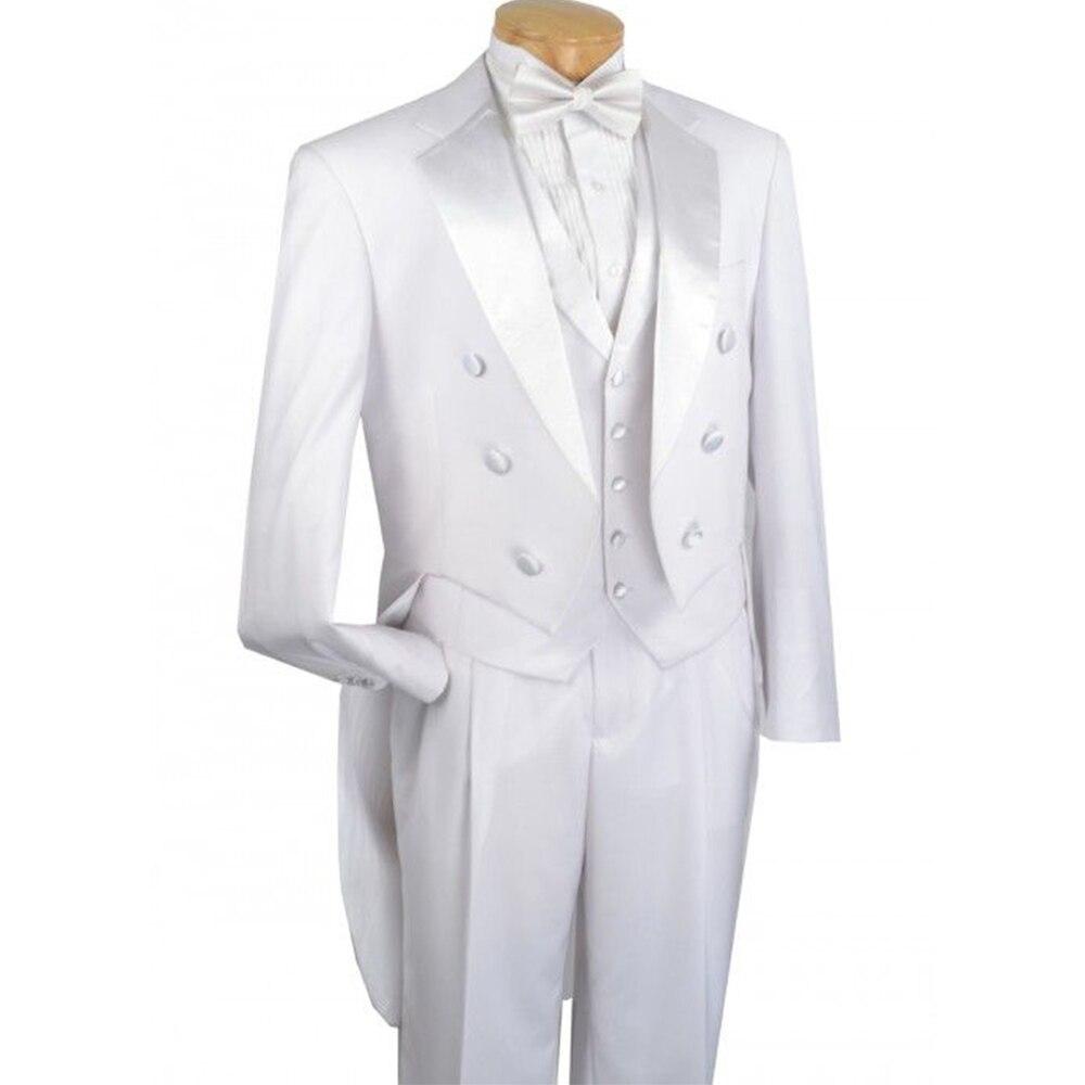 Wykonane na zamówienie, aby środek biały wieczór fraki z szerokim Notch Lapel, na zamówienie ślubne frak garnitur, szyte na miarę Groom długi ogon garnitur w Garnitury od Odzież męska na  Grupa 1