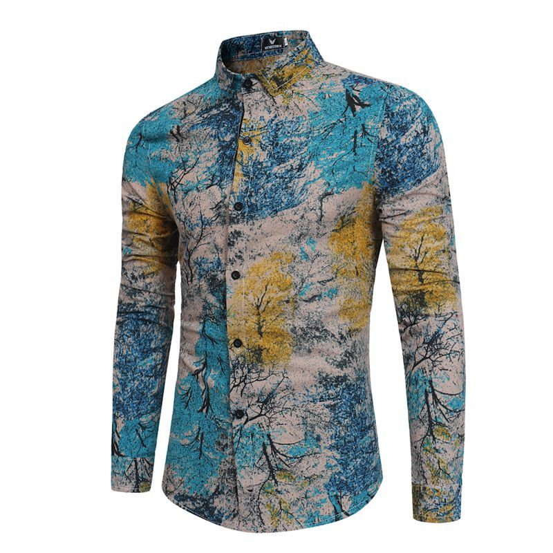 238ad87153ad New Pattern Man Long Sleeve Printing FLOWER dress Shirt Lake Blue camisa  masculina color slim fit