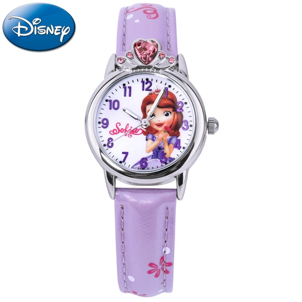 Watches Disney Sofia Princess Pretty Girls Waterproof Watch Childrens Pu Band Quartz Wristwatch Kid Crystal Heart Flower Watches Gift