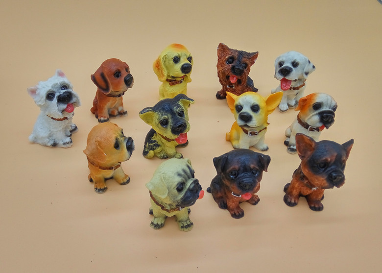 12pcs suit Simulation dog 4 cm height Figurines <font><b>resin</b></font> crafts ornaments large toys for children adult dog pet lovers image