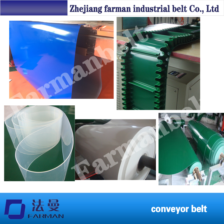 Farman brand customized PVC conveyor belt in green,white,black,blue color grass pattern rough surface green pvc skid conveyor belts