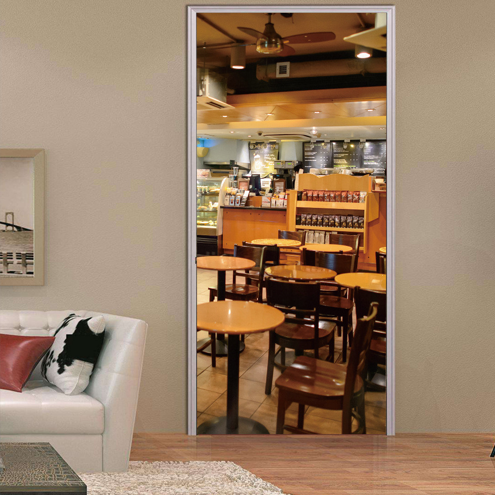 Custom Size/77*200cm 3D Cafe Door Sticker Self-adhesive Waterproof Wallpaper Home Decoration Mural Decals Living Room Bedroom