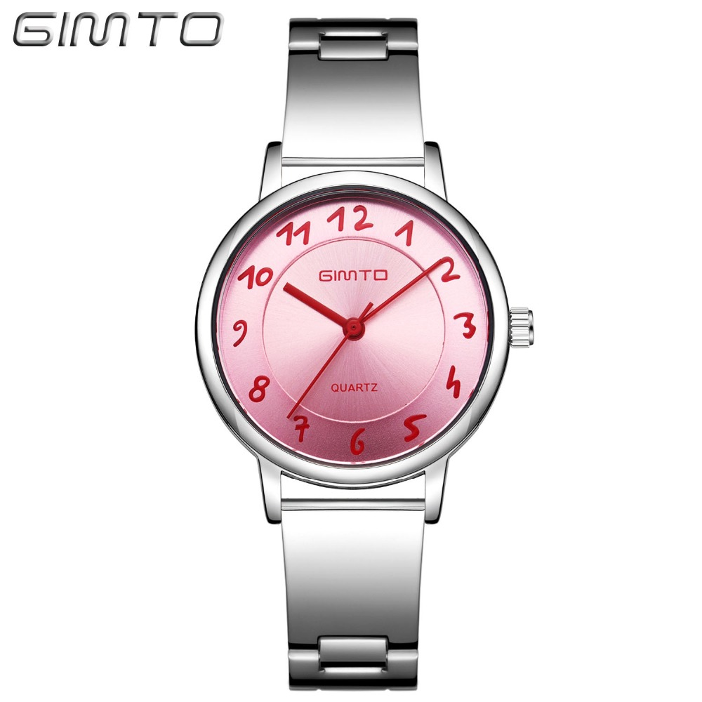 GIMTO Relogio Feminino Ladies Watch Women Casual Lovely Quartz Wrist Watch for Girl Dress Simple Women Watches Reloj Mujer 2017 read fashion watch women dress quartz watch casual ladies wrist watch women relogio feminino relojes mujer leather clcok r2012