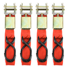 4pcs Car Rope Tie Down Strap Strong Ratchet Belt Luggage Bag Cargo Lashing With Metal Buckle Moving Hauling Truck Motorcycle