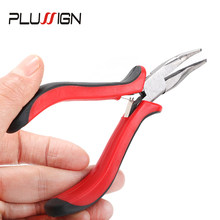 Plussign Red Black Bend Tip Plier Hair Extension Tolls Microring Hairs Pilers For Fusion Hair With One Pcs Pulling Needle Tool(China)