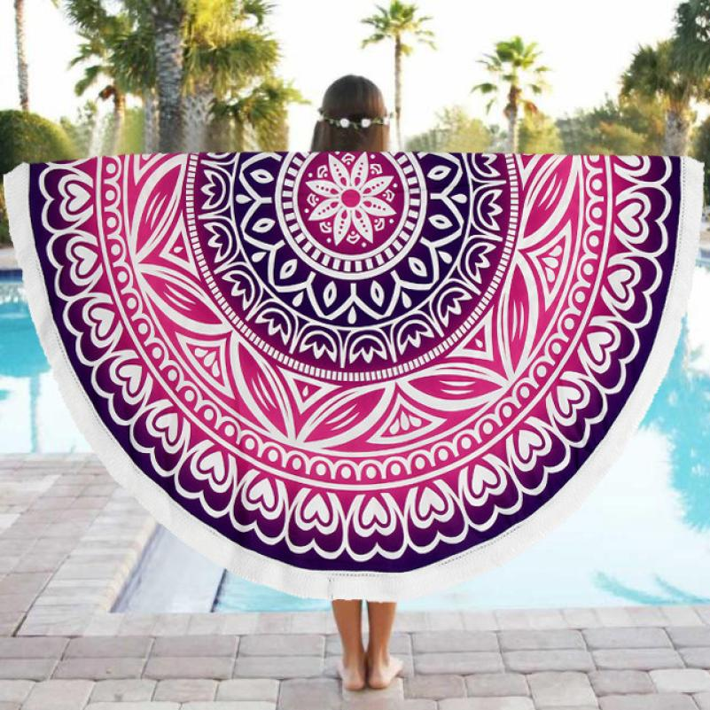 Fashion printing Summer Beach Swim Bath Towel Round Beach Pool Home Shower Towel Blanket Table Cloth Yoga Mat drop shipping w15