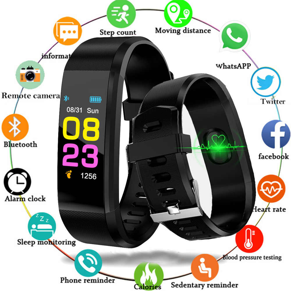 New Men Women Fitness Watch Smart Bracelet Sport Bluetooth Digital Wristband Heart rate Blood Pressure Pedometer for Android iOS