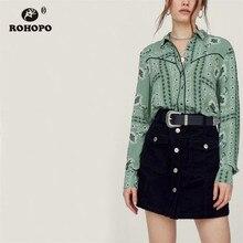 цена на ROHOPO Women Long Sleeve Retro Art Printed Blouse Ladies Vintage Green Cardigan Round Edge Flared Casual Top Shirt #OYK8765