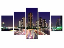 Top Wall Deocr Canvas Painting 5 Pcs Beautiful city Modern Printed Oil Pictures Beauty In Home Living Room framed/XC-city-131