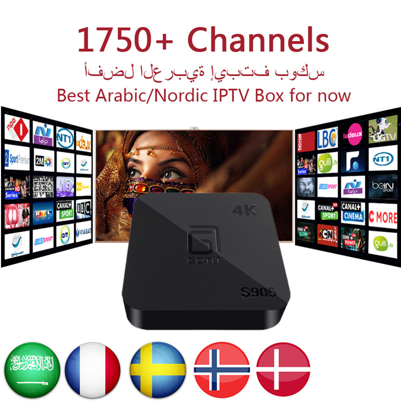 Arabic IPTV GOTiT S905 4K Android TV Box with1950+ Europe African Gremany Greece French Russian Turkey Kurdish Persian PayTV&VOD gotit cs918 android 4 4 tv box with 1year arabic royal iptv europe africa latino american iptv rk3128 media player smart tv box