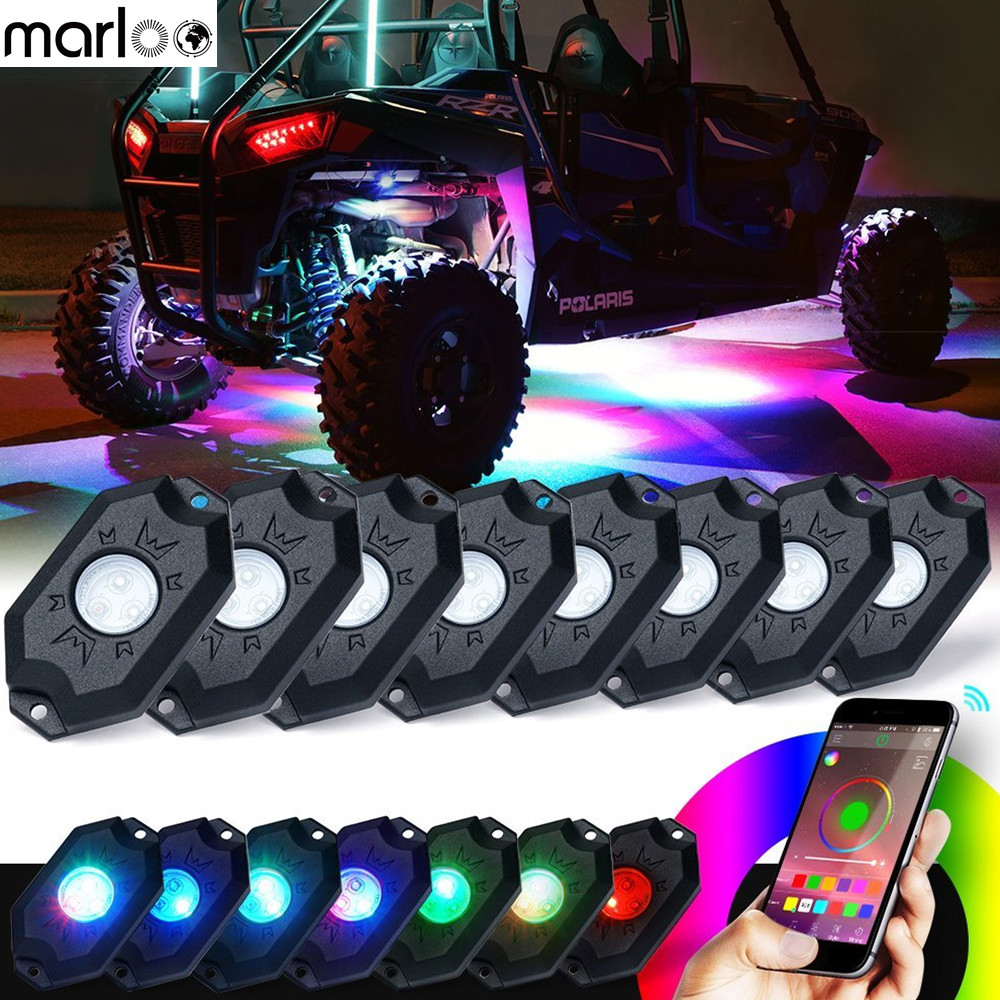Marloo 8 Pods RGB LED Rock Lights with Bluetooth Controller Remote Multicolor Neon LED Light Kit for Timing Music Mode Flashing