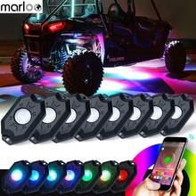 Marloo 8 תרמילי RGB LED רוק אורות עם Bluetooth בקר מרחוק ססגוניות ניאון LED ערכת אור עיתוי מוסיקה מצב מהבהב