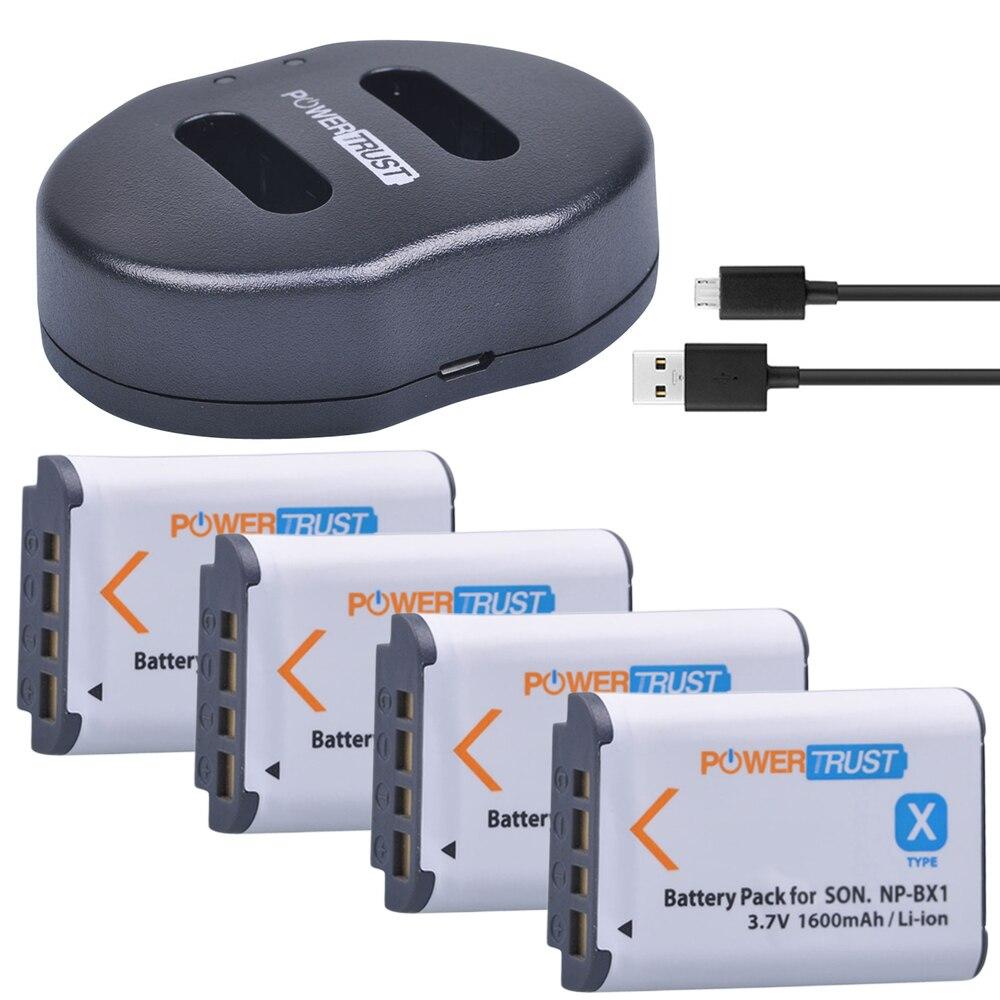 4 piezas 1600 mAh NP-BX1 NP BX1 batería + cargador Dual del USB para Sony DSC-RX100 DSC-WX500 HX300 WX300 HDR AS100v AS200V AS15 AS30V AS300