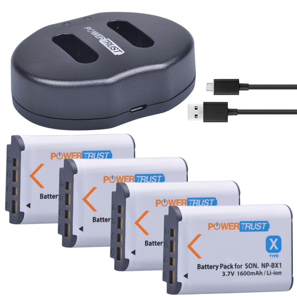 4Pcs 1600mAh NP-BX1 NP BX1 Battery +Dual USB Charger for Sony DSC-RX100 DSC-WX500 HX300 WX300 HDR AS100v AS200V AS15 AS30V AS300
