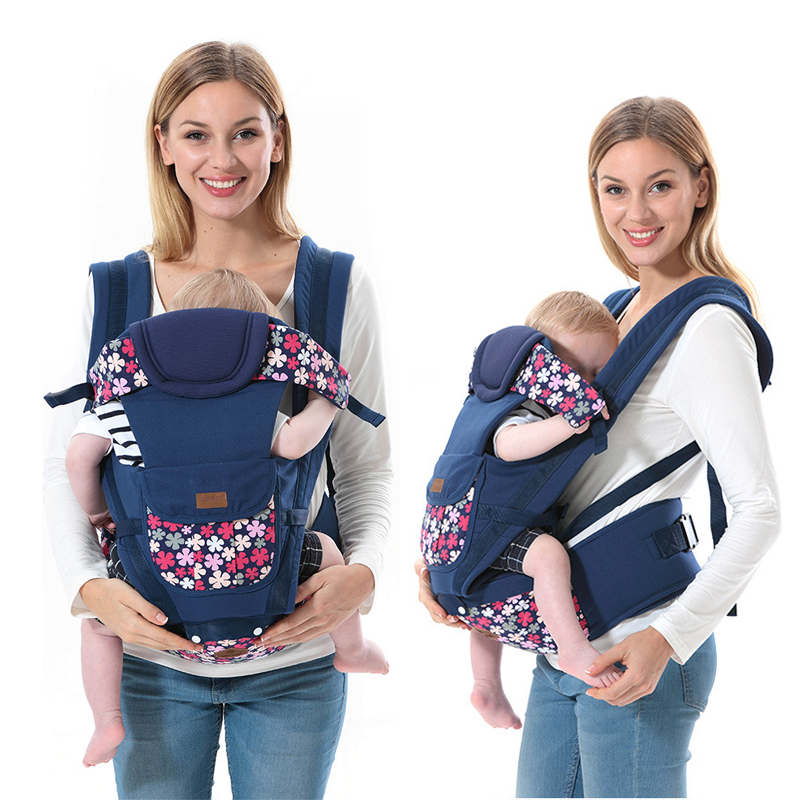 Floral Baby Carrier Ergonomic Bebe Backpack Front Facing 7 In 1 Removable Hipseat Infant Sling Pouch Wrap Baby Kangaroo 0-36M