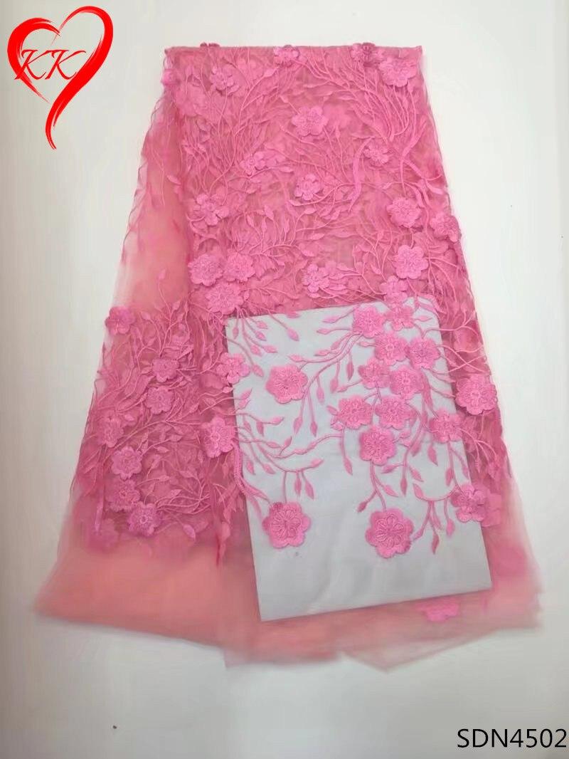 ᗖSDN45 KK rosa del cordón tela africana francesa del cordón tela ...