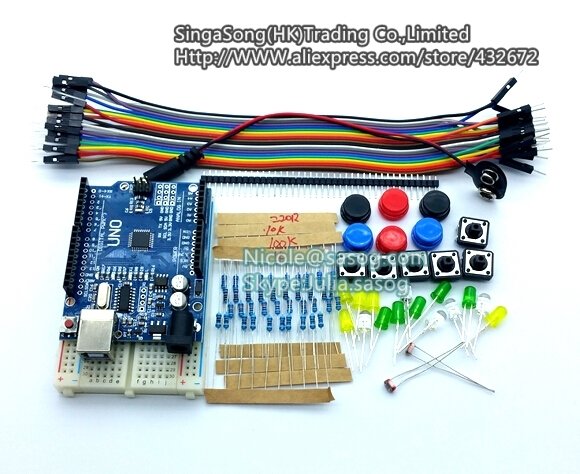 new Starter Kit UNO R3 mini Breadboard LED jumper wire switch button for arduino compatile free shipping dragon