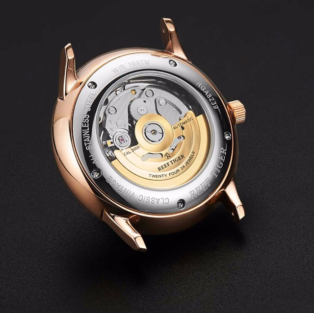 Reef Tiger - Luxury Rose Gold Mechanical Tourbillon Watch with Brown Leather Strap 6