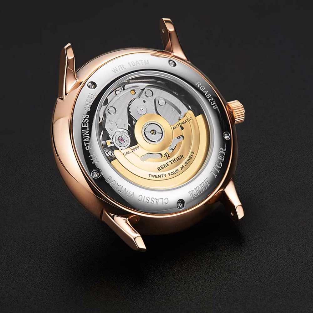 Novo reef tiger/rt luxo rosa ouro relógio automático relógios mecânicos turbilhão masculino com pulseira de couro marrom rga8239