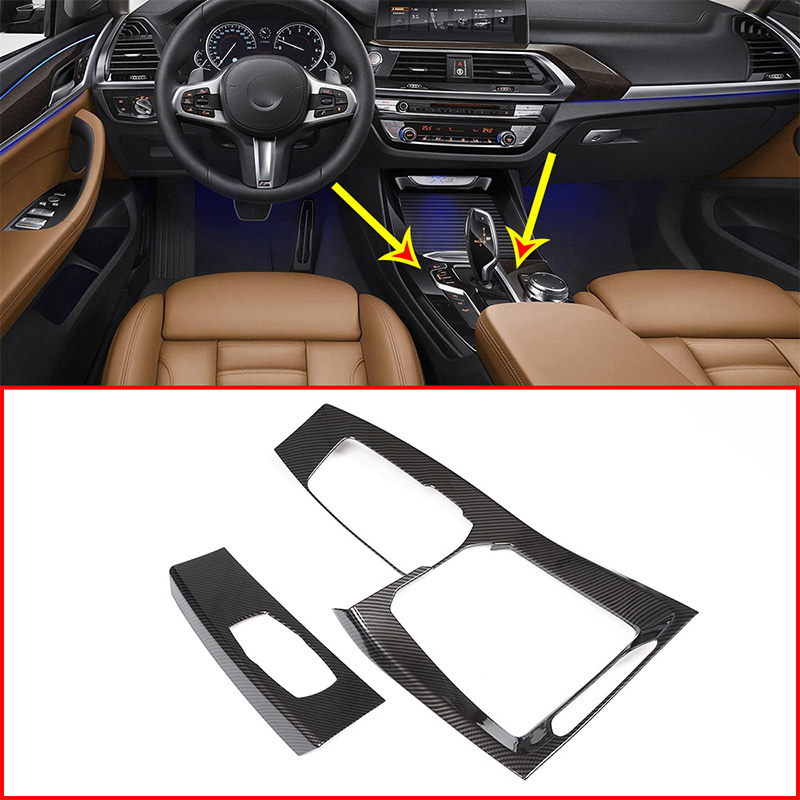 2pcs/Set Carbon Fiber Style ABS Central Control Gear Shift Plane Trim For BMW X3 G01 2018 Car Accessories accessories for chevrolet camaro 2016 2017 abs carbon fiber style the co pilot central control strip molding cover kit trim page 7