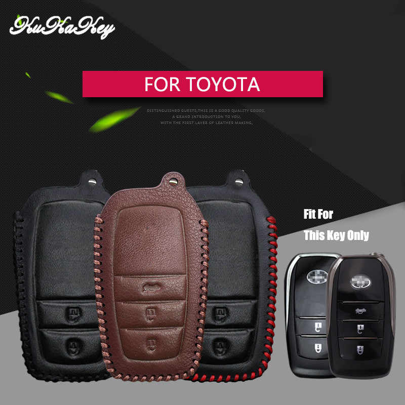 Genuine Leather Car Key Cover Case For Toyota Chr C-hr Crown Avensis Auris Corolla Prius Land Cruiser Prado 200 Smart Key Shell