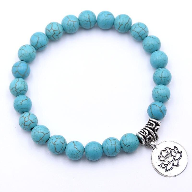 Natural Stone Lotus Buddha Beads Bracelet Matte Amazonite Mala Beads bracelets bangles For Women Men Yoga bracelet femme homme 5