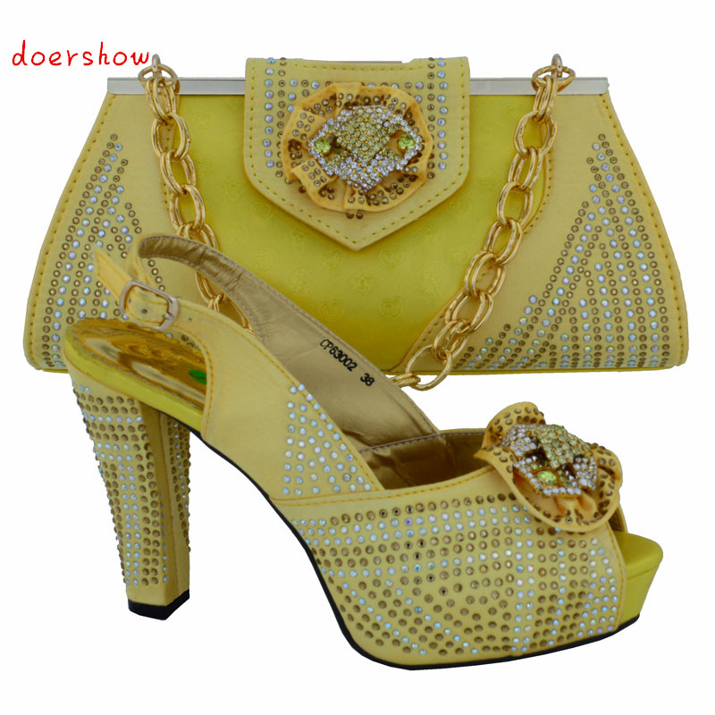doershow yellow New Design African Upscale Shoes And Bags For Party Latest African Matching Shoes And Bag Set Online! VL1-12