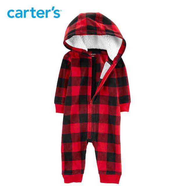 0985409a7 Carters Baby Boy Rompers Buffalo Check Zip Up Fleece Jumpsuit Long ...