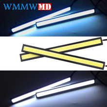 купить 1Pcs 17cm COB LED DRL Driving Daytime Running Lights Strip 12V COB LED DRL Bar Aluminum Stripes Panel Car Working Lights онлайн