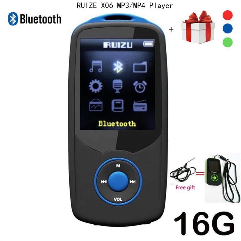 2017 Ny Original RUIZU X06 Bluetooth MP4-spelare 16 GB 100hours högkvalitativ förlustfri inspelare Walkman FM Radio Video Player