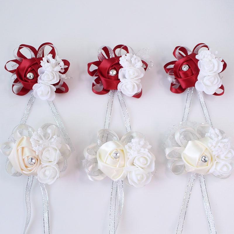 wedding wrist corsage Bracelet bridesmaid rose silk white pink marriage wrist corsage  (187)