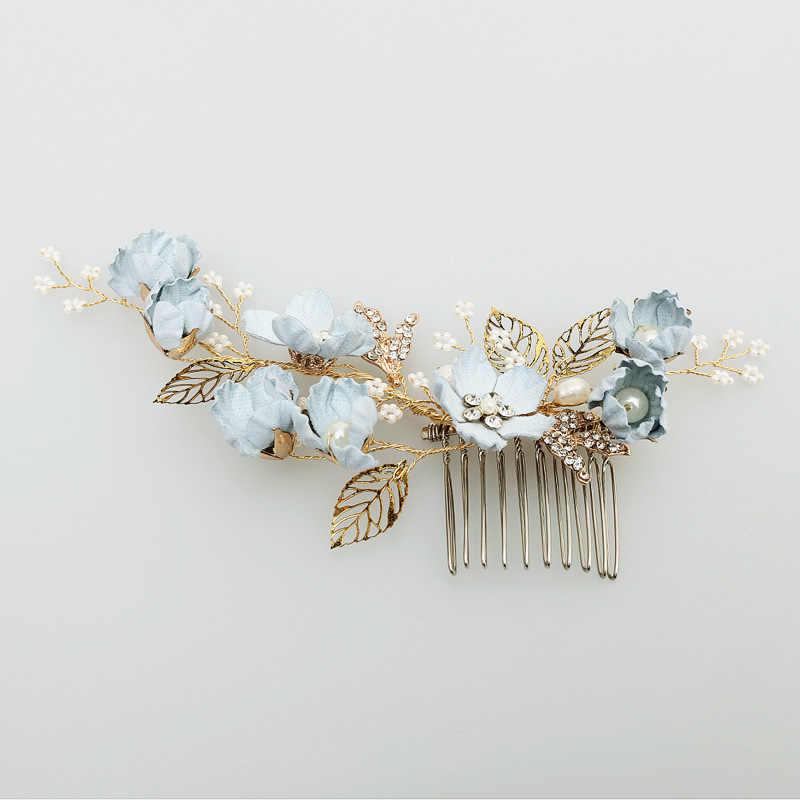 Модные роскошные 4 шт. с голубыми цветами, расчески для волос повязка на голову Выходные туфли на выпускной бал свадебные аксессуары для волос, золотистый листья украшение для волос шпильки