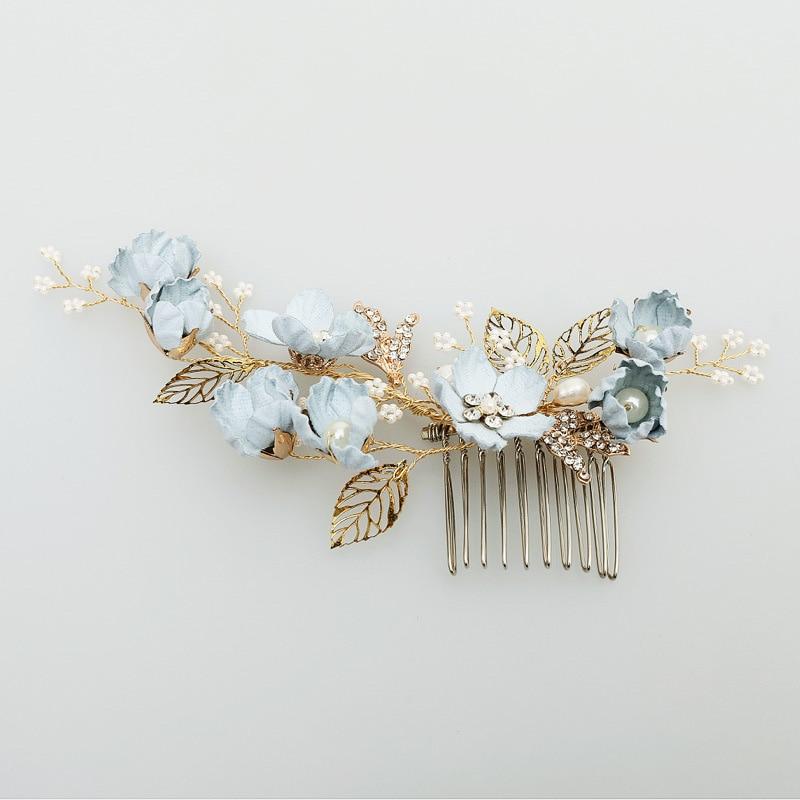 Luxury Flower Hair Combs Headdress Crystal Prom Bridal Wedding Leaves Hair Pins