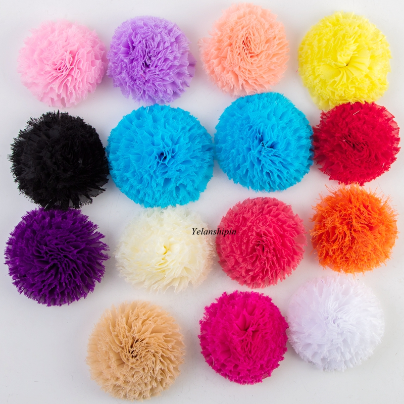 10pcs/lot 3.6 14 Colors Hair Clip Frayed Chiffon Flowers For kids Hair Accessories Artificial Shabby Fabric Flowes For Headband