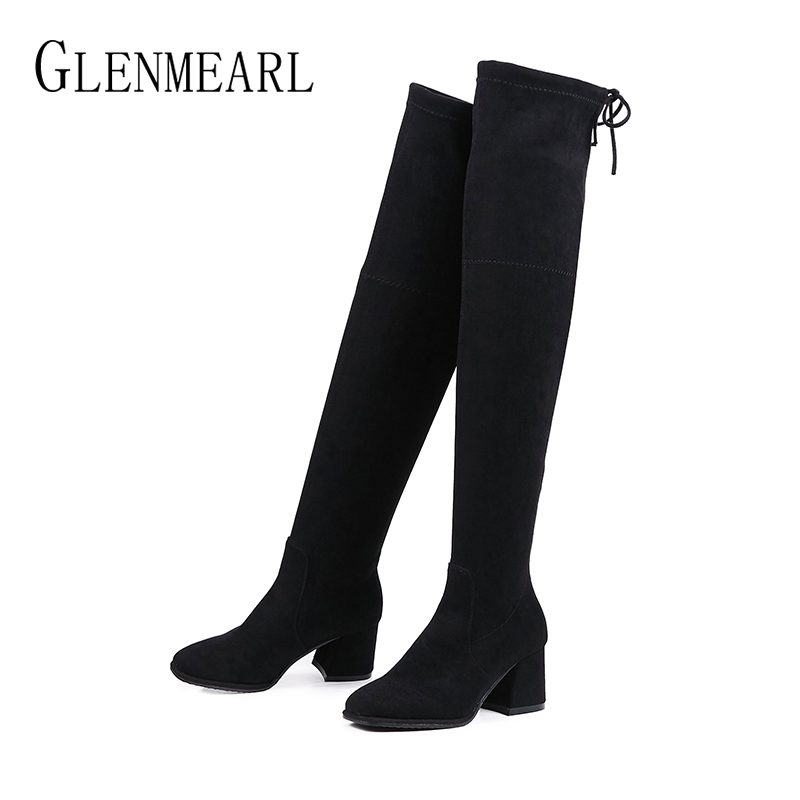 Fashion Women High Boots Thick Heels Winter Casual Shoes Over The Knee Square Toe Boot Female Autumn Black Ladies Shoe Plus Size plus size 34 43 winter autumn women soft leather knot low heels lovely knee high boots 3colors pink ladies fashion female shoes
