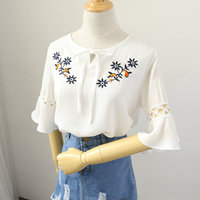Korean Women White Shirt Floral Embroidery Chiffn Blouse Ladies Office Wear Clothing Blusas Feminina Summer Tops