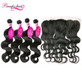 Brazilian Virgin Hair Body Wave With Frontal Closure 4 Bundles Brazilian Body Wave Ear To Ear Lace Frontal Closure With Bundles