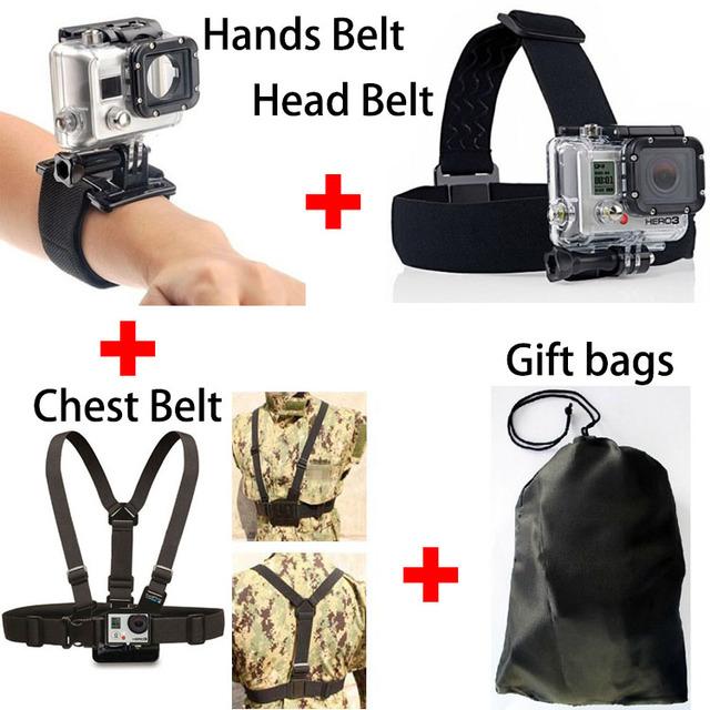 4 em 1 GoPro Go Pro Acessórios Set Harness Chest Belt + Cabeça stap montar para gopro hero 4 3 + 3 2 sj4000 sj5000 sj6000 sj7000