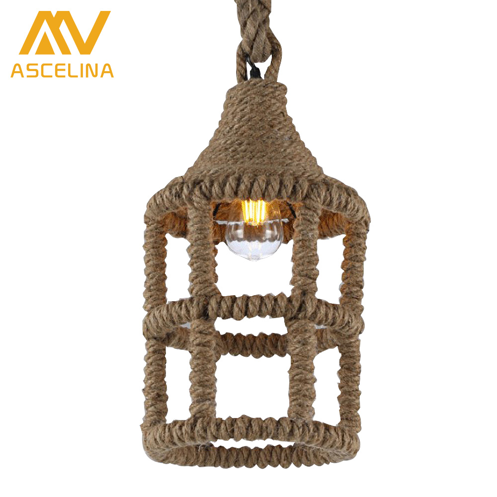 ASCELINA Vintage Wicker Pendant Lamp Hand Knitted Hemp rope Iron Pendant Light Loft Lamps American lighting Edison bulb for home american style hemp rope pendant light personalized bar table lamps nostalgic vintage clothes lighting