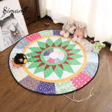 Simanfei Cartoon Carpets Animal Fox/Bear/Tree Yoga Mat Baby Creeping Round Mats Bedroom Decor Kids Play Rug Knitted Sleep Tapis(China)