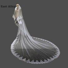 Белая, слоновая кость, 2 слои, свадебная фата, кружевная кромка, длина часовни, свадебные аксессуары, Фата с расческой