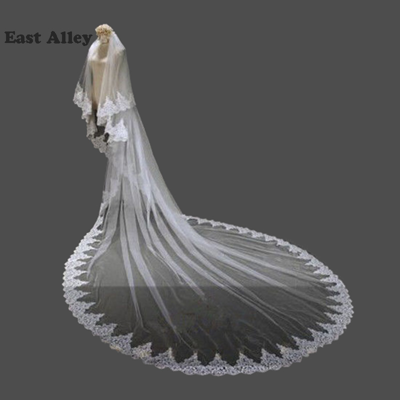 White Ivory 2 Layers Wedding Veil Lace Edge Chapel Length Bridal Accessories Veils With Combwedding veilveil with comb2 layer wedding veil -