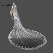 White Ivory 2 Layers Wedding Veil Lace Edge Chapel Length Bridal Accessories Veils With Comb