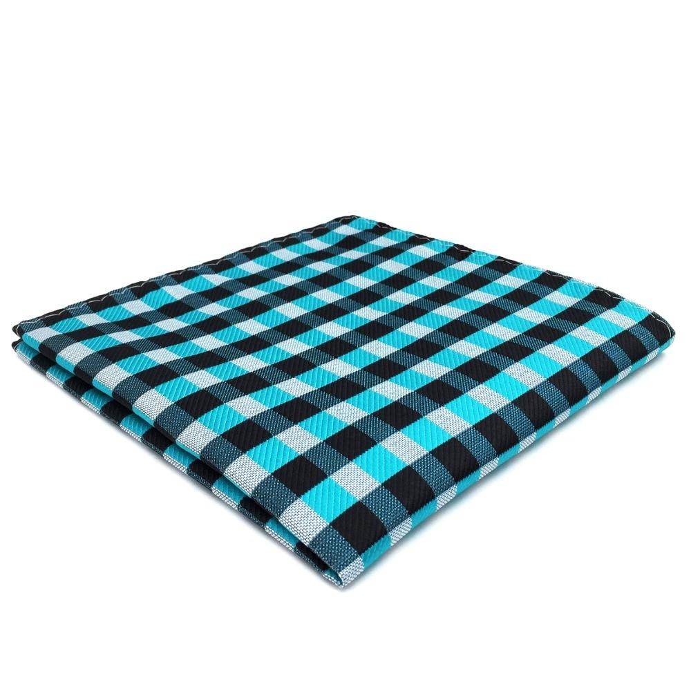 Plaid Pocket Square Checked Black Blue Mens Silk Handkerchief