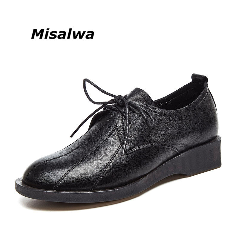 Misalwa New Genuine Leather Women Flats 2018 Spring Autumn British Retro Lace Up Round Toe Flat PlatForm Women Oxford Shoes стоимость