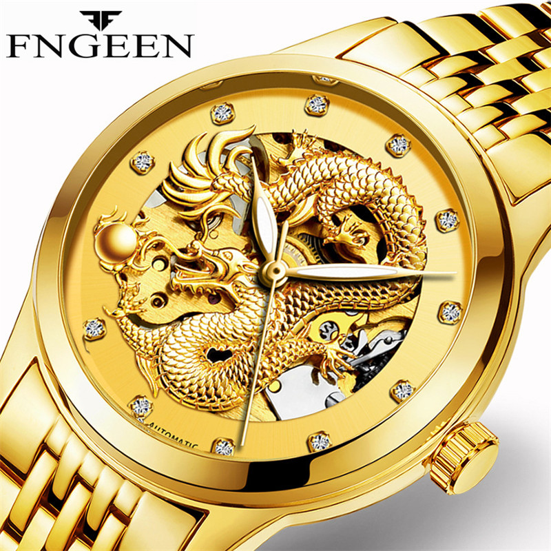 FNGEEN Men Watch Design Business Gold Dragon Mens Top Brand Luxury Automatic Fashion Mechanical Watch Clock Relogio MasculinoFNGEEN Men Watch Design Business Gold Dragon Mens Top Brand Luxury Automatic Fashion Mechanical Watch Clock Relogio Masculino