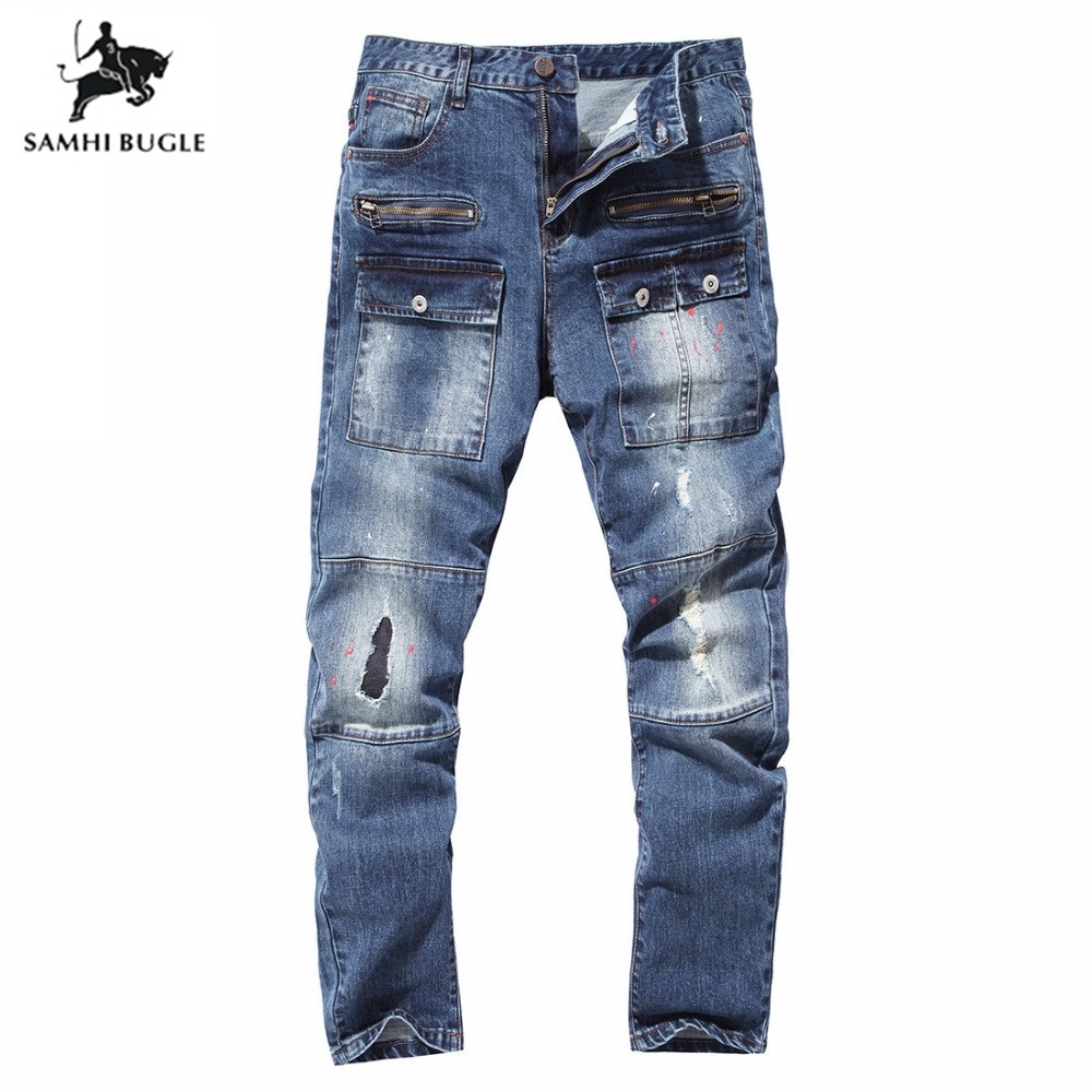 Rétro couleurs jeans homme 2018 nouvelle Europe funky correctifs de trou jean troué slim fit straight leg rock Hommes de jeans offre spéciale