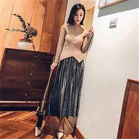 Fashion suit female autumn new temperament suit skirt sweater two piece suits women